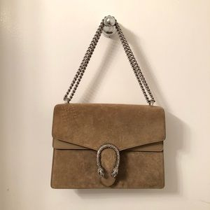Gucci Dionysus Suede Medium Nude Shoulder Bag
